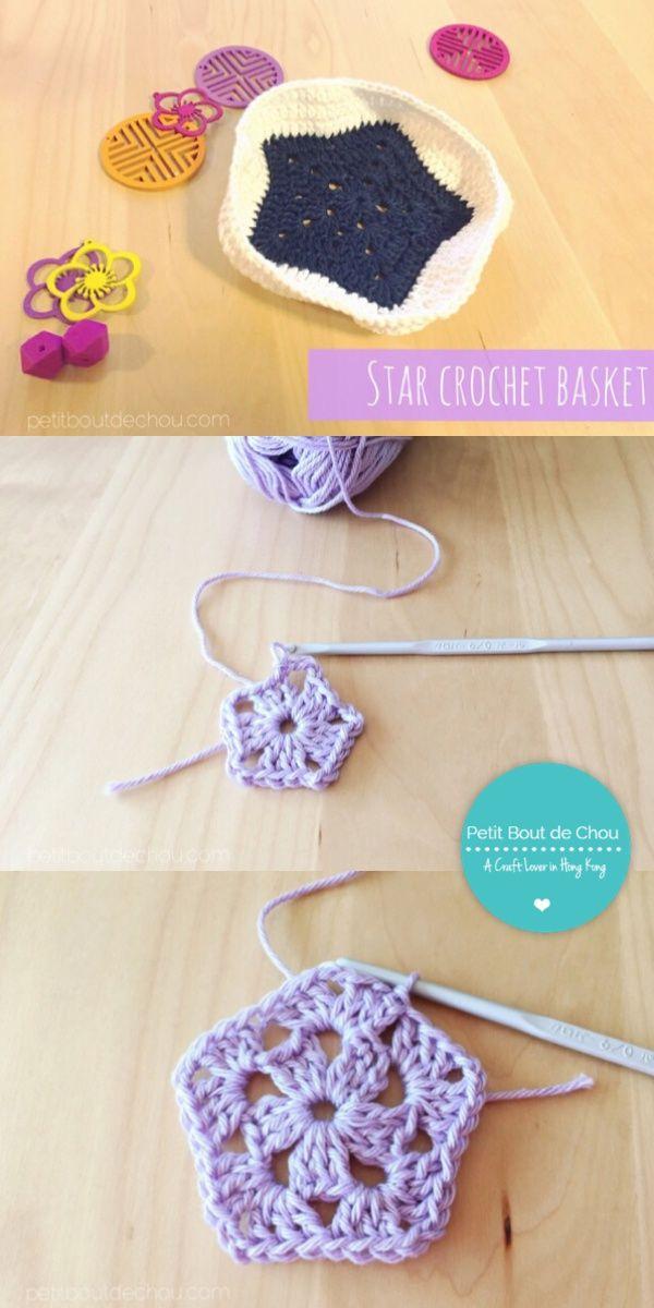 DIY: Cute Star Crochet Basket   Ganchillo y Costura