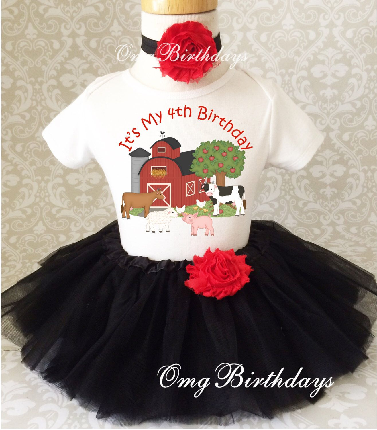 Barnyard Farm Animals red black 2nd Second Birthday  Shirt Tutu Outfit Set Party