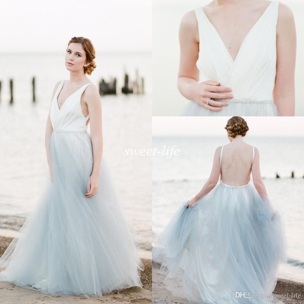 7bcd4c42ac 2016 Summer Beach Wedding Dresses Backless Blue And White Tulle Crystal  Belt Deep V Neck Cheap