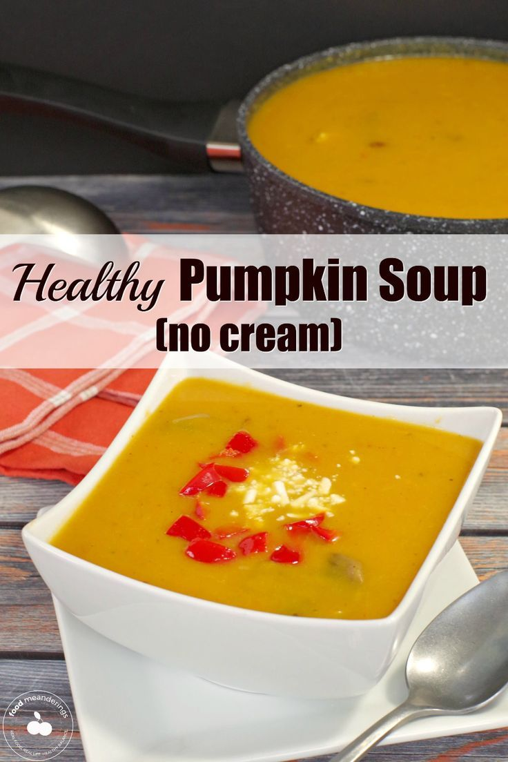 Healthy Pumpkin Soup This Healthy Pumpkin Soup with bacon and mushrooms is made with no cream, tast