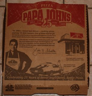 Papa Johns Pizza Box