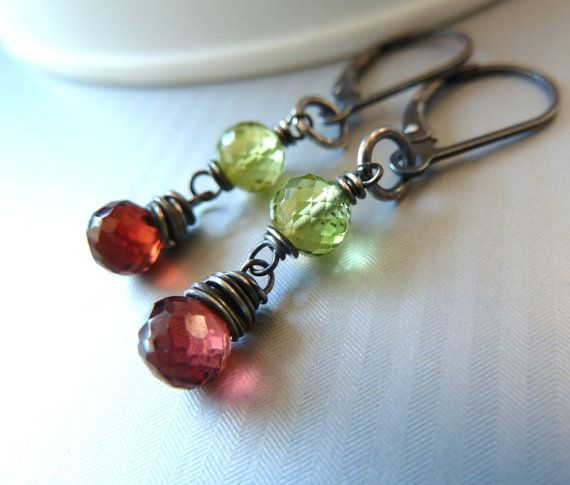 Peridot and garnet earrings