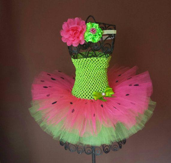 Lime Green and Fuschia Watermelon Tutu Dress & Headband Set, Birthday, Halloween, ballerina, photo prop, costume, infant, baby, toddler