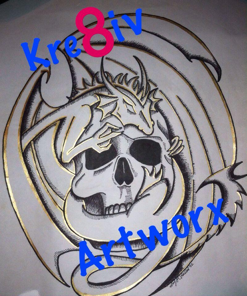 Skull. Dragon. Tattoo art. By Said-ivy