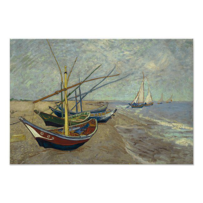 Vincent Van Gogh Fishing Boats On The Beach Poster Zazzle Com Van Gogh Paintings Canvas Artwork Fine Art Landscape