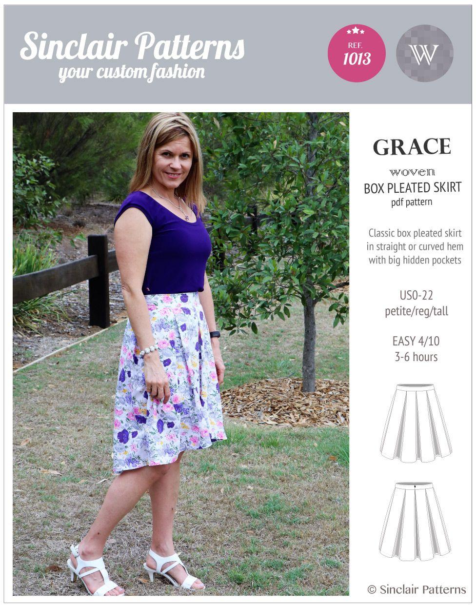 6fff10684a Box Pleat Skirt Pattern With Pockets