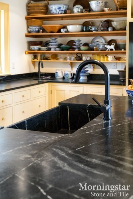 Kitchen Design Inspiration: Custom Baroca Soapstone Countertops And Sink //  Find More Inspiration For
