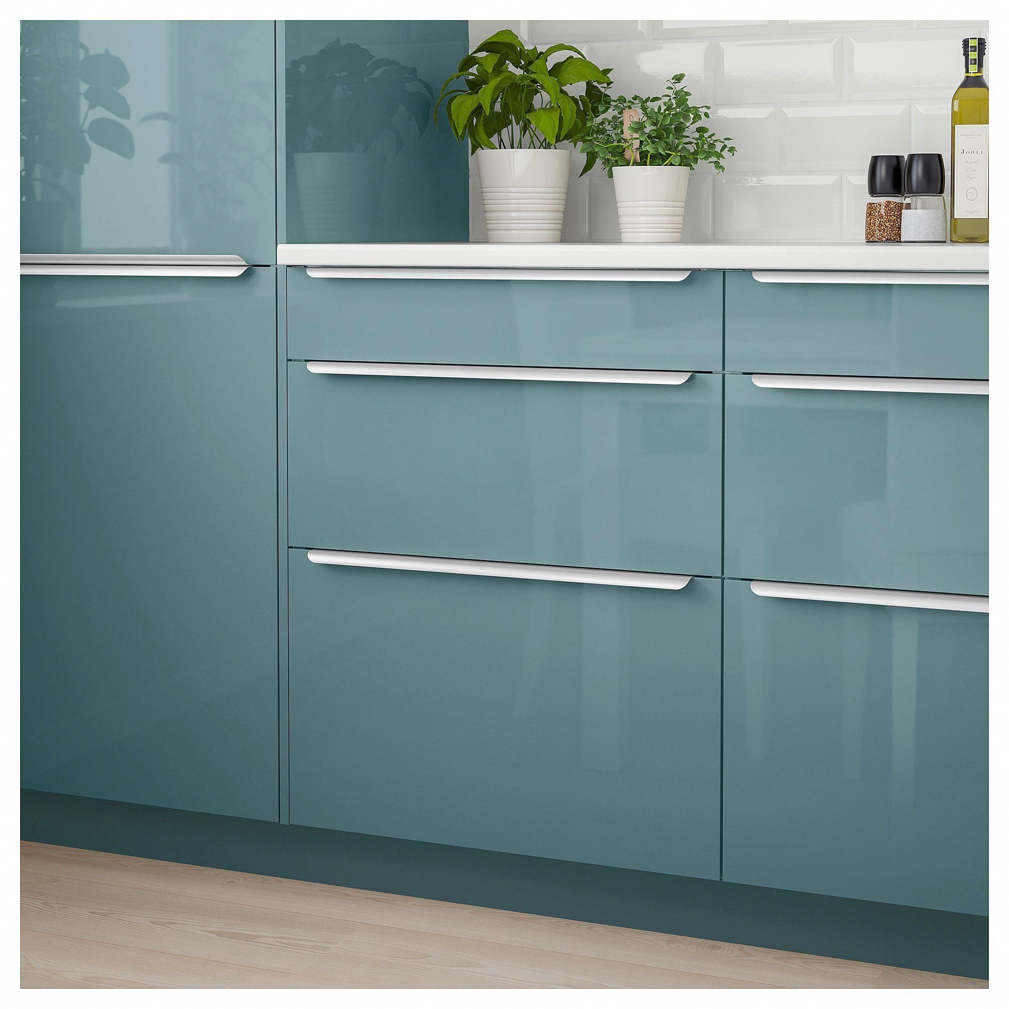 Best Kallarp Drawer Front High Gloss Gray Turquoise Kitchen 400 x 300