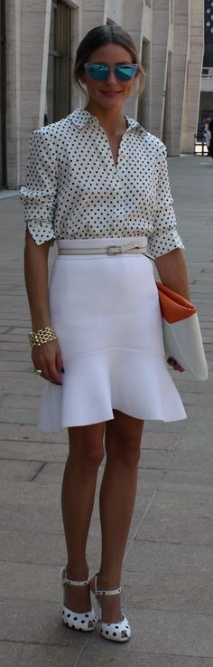 Shirt – Tibi  Skirt – Scanlan & Theodore  Belt – Reiss  Sunglasses – Westward Leaning  Shoes – Truth or Dare by Madonna  Purse – Smythson