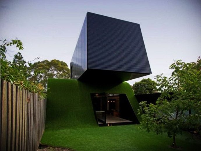 Green Family Home Extension Built on an Artificial Hill with a Very Exotic and Fresh Design, Australia #homeextensions
