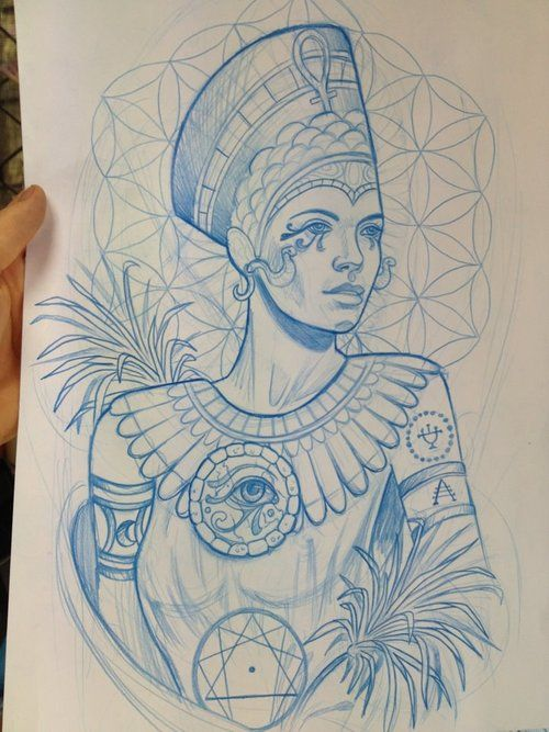 Very Nice Tattoo Design From The Same To Me Unknown Artist As The Design I Posted Before This Neotraditio Tatuagem Nefertiti Tatuagem Farao Tatuagem Egito