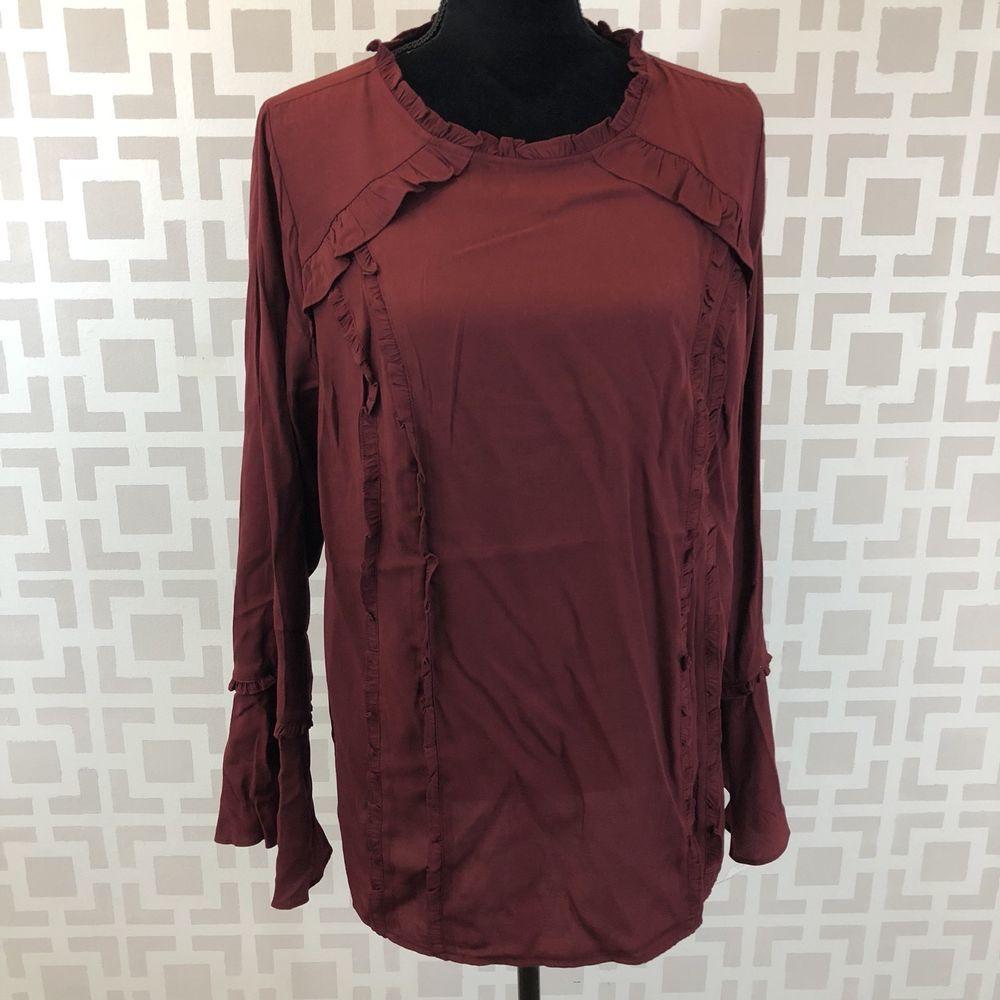 3b8035f44f4 Ava   Viv Womens 1X Deep Red Long Sleeve Ruffle Bell Sleeve Boho Blouse   AvaViv  Blouse  Casual