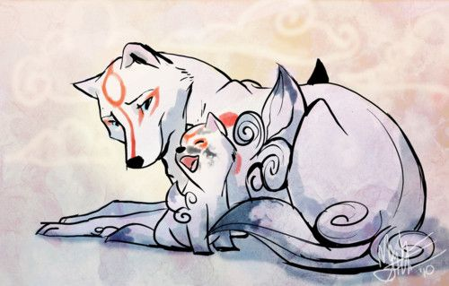 Amaterasu And Chibiterasu Mother And Son With Images Okami