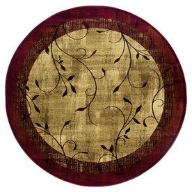 Allen + Roth Tinsley Red Round Indoor Woven Nature Area Rug (Common: 8