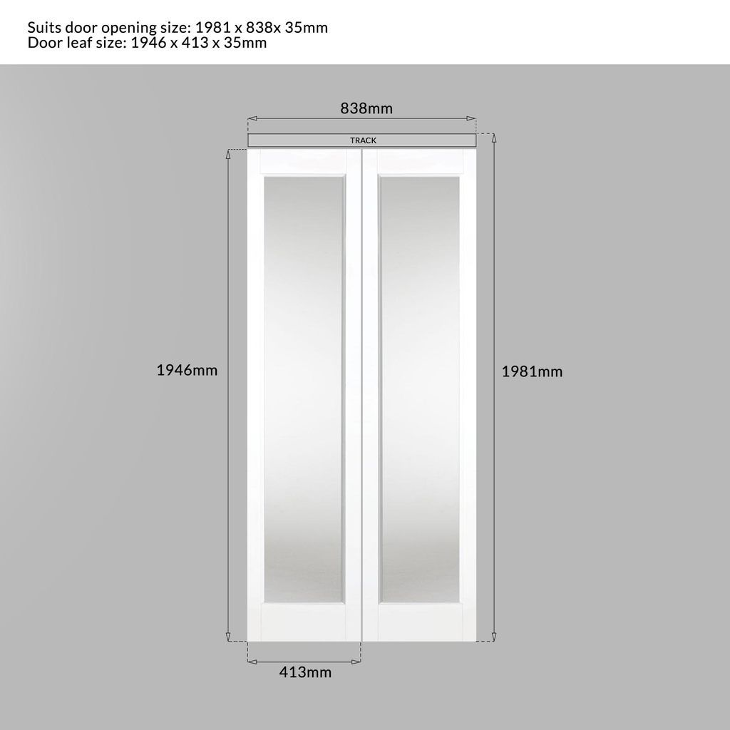 Bifold Marston White Door Clear Glass Prefinished White Doors Door Fittings Clear Glass
