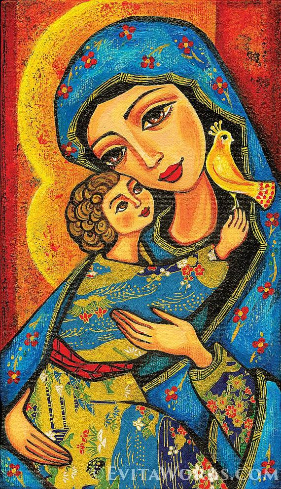 giclee: Madonna child, Virgin Mary Jesus painting, mother child, christian folk art, motherhood, beauty painting, feminine decor, 7x12+