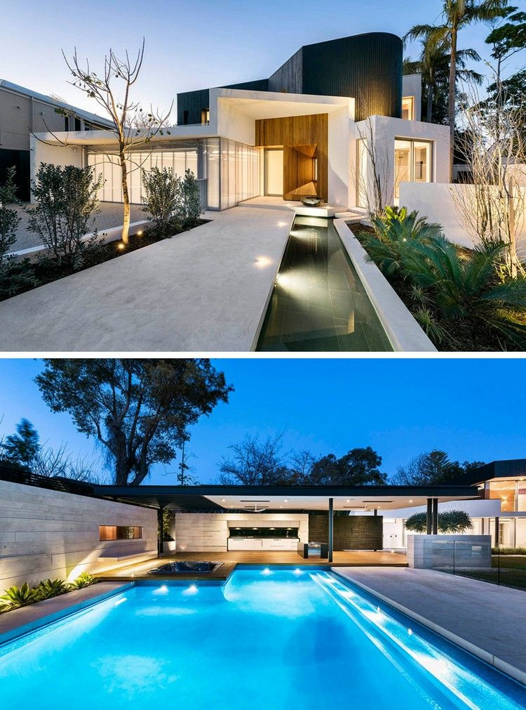 Piscine extérieure avec spots encastrables sol en béton jardin moderne et clôture design