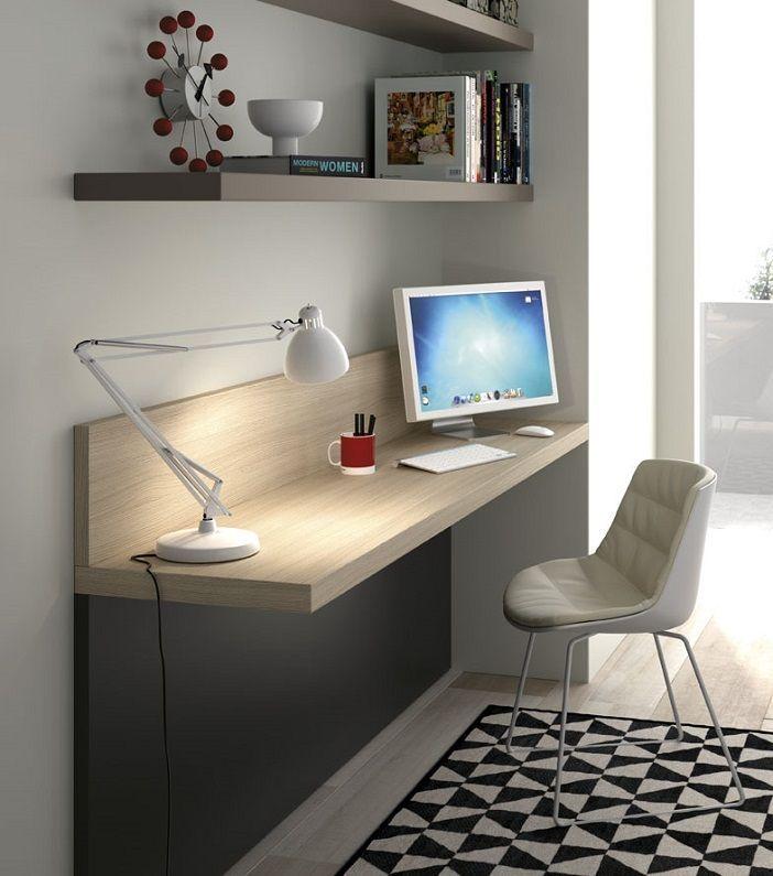 Resultado de imagen de dormitorio juvenil mesa estudio for Diseno de libreros para espacios pequenos