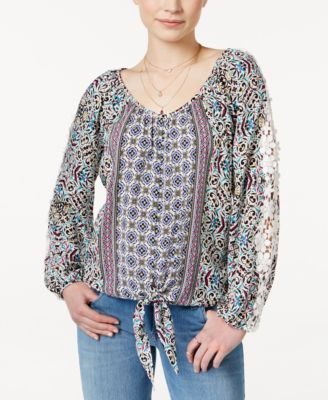 American Rag Printed Crochet Trim Tie Front Peasant Top Only At