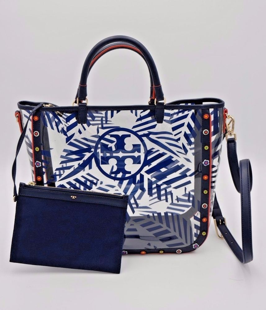 a51c9309568f NWT Tory Burch Marguerite Printed Palm Clear Multi Tote Shoulder Bag New  ( 395)