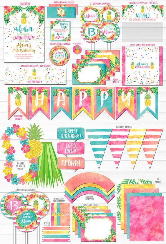 printable pineapple luau complete birthday party package