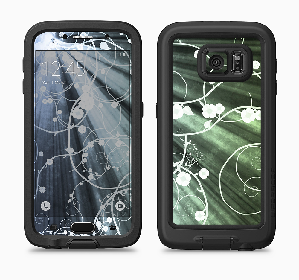 The Grunge Green Rays of Light with Glowing Vine Full Body Samsung Galaxy S6 LifeProof Fre Case Skin Kit