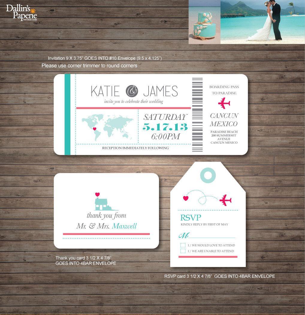 Destination Wedding Invitation printables, beach wedding, Map ...