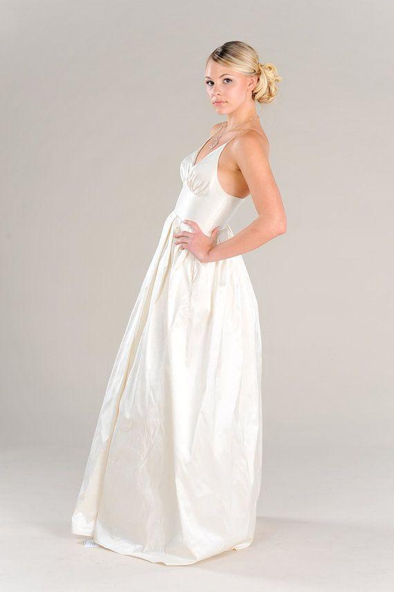 Modern Garden Wedding Dress with pockets Plunging V-neck, Waistband, pleated Silk Skirt, Beach Destination Simple Wedding gown on Etsy, $1,241.43