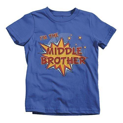 Shirts By Sarah Boy's I'm The Middle Brother Comic T-Shirt Bubble Stars Fun Shirt