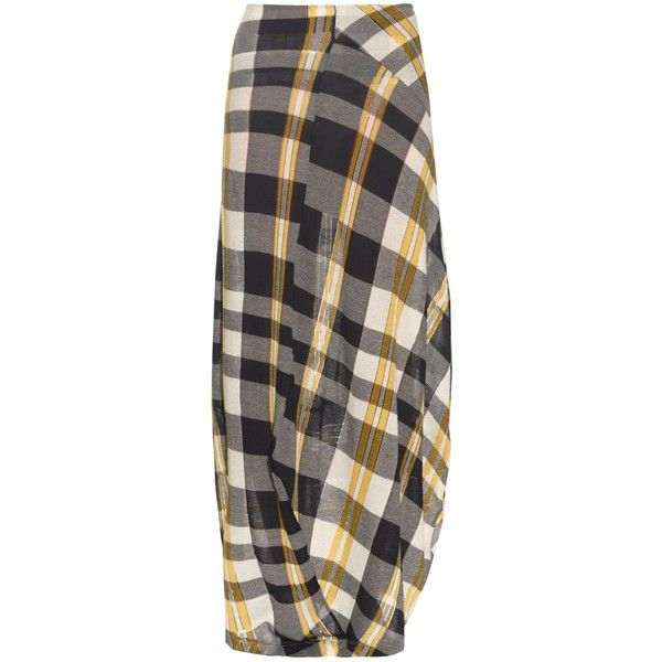 Stella McCartney Check cotton-knit skirt (£825) ❤ liked on Polyvore featuring skirts, navy multi, checkered skirt, navy skirt, asymmetrical skirt, maxi skirt and cotton knit skirt