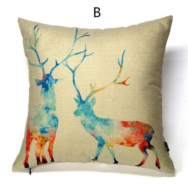 Phenomenal Deer Throw Pillow Hand Drawn Style Art Cushions For Couch Inzonedesignstudio Interior Chair Design Inzonedesignstudiocom