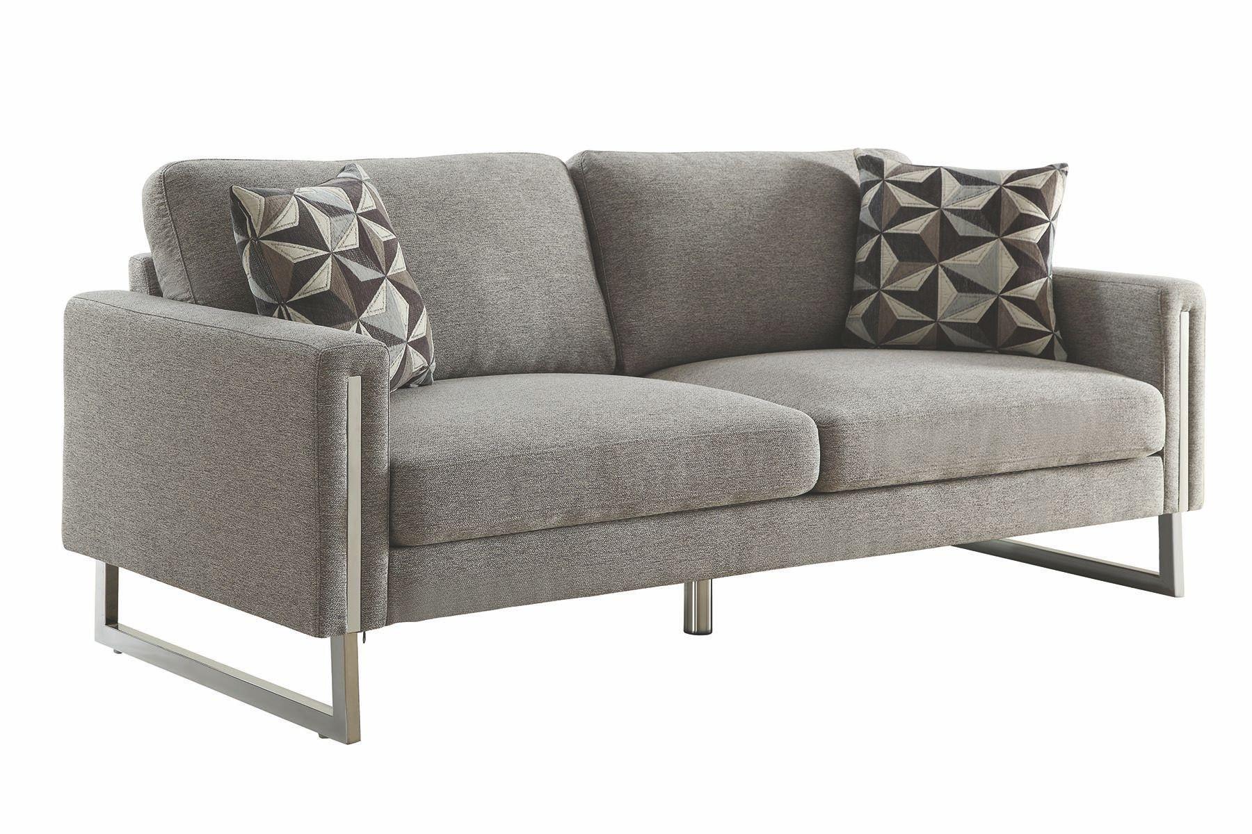 One In Stock Meta Chrome Leg Grey Sofa 77 W X 35 H X 34 D Rent 72 Buy 499 Black Fabric Sofa Upholstered Sofa Sofa