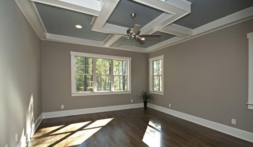 Awesome dark wood floors tan walls white crown molding tray ceiling Simple - Style Of white crown molding Awesome