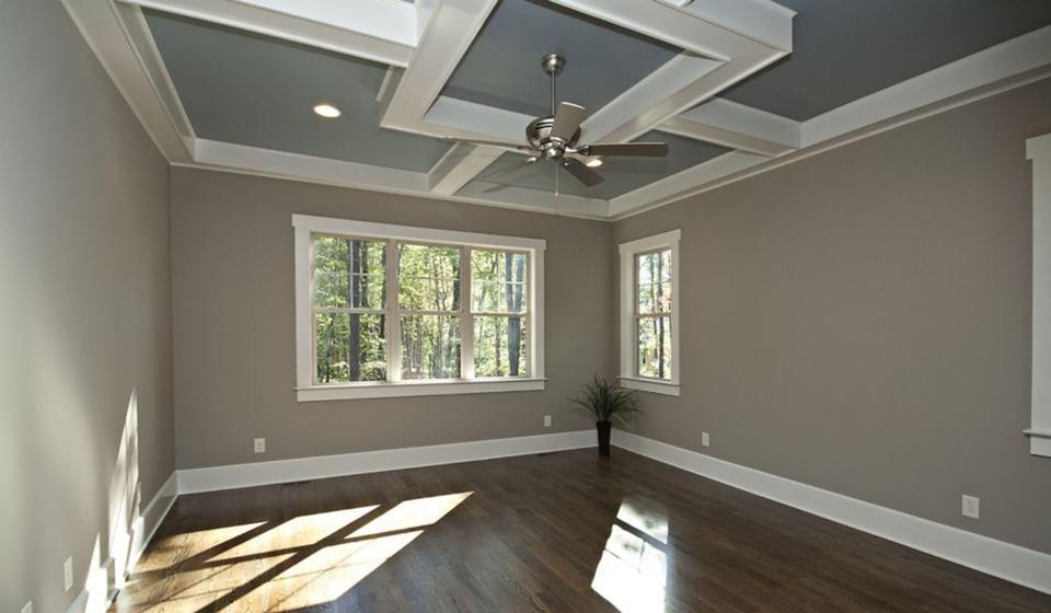 Dark Wood Floors Tan Walls White Crown Molding Tray