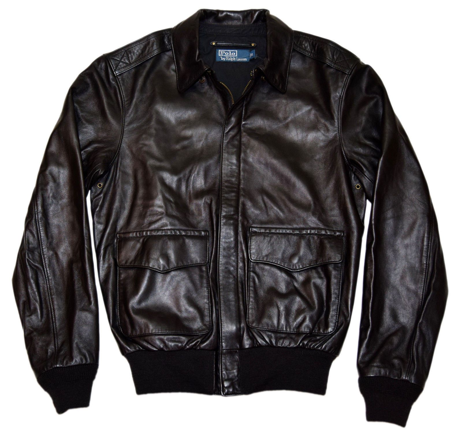 Polo Ralph Lauren Mens Vintage Bomber Epaulet Leather Jacket Coat Black Large Leather Bomber Jacket Vintage Men Polo Ralph Lauren Mens [ 1517 x 1600 Pixel ]