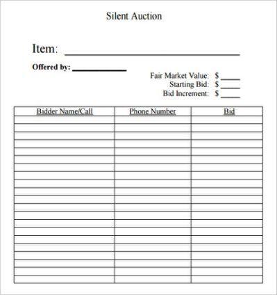 Silent Auction Bid Sheet Template Event Pinterest - payment spreadsheet template