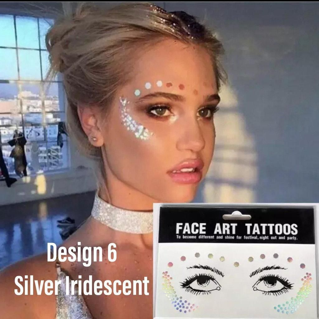 Metallic Face Temporary Tattoo Jewels - 11 Designs for 2020!!