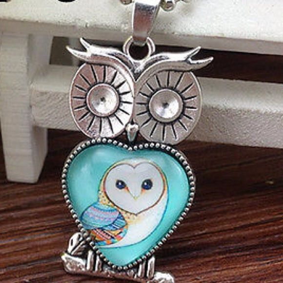Owl necklace earrings set Set Jewelry Necklaces