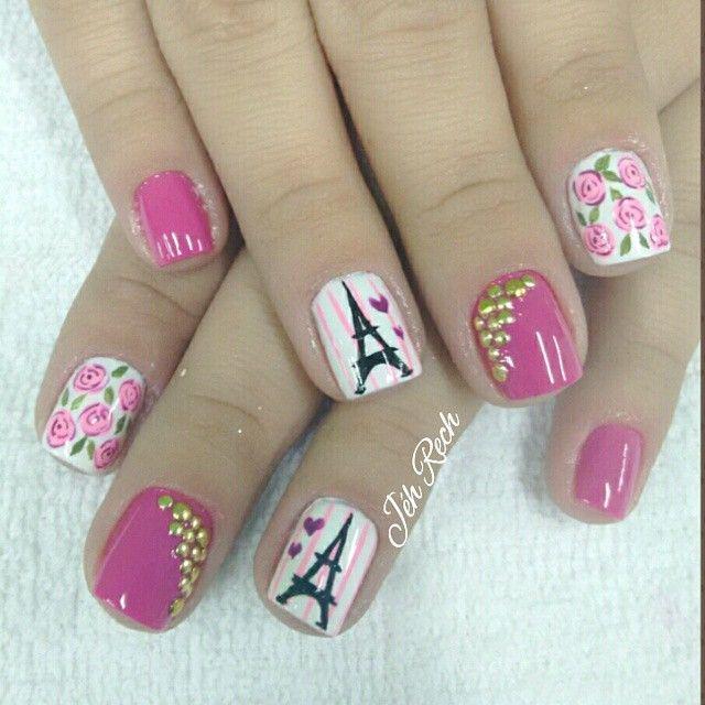 Pink eiffel towers Instagram media by jehhhrech   Nails   Pinterest ...