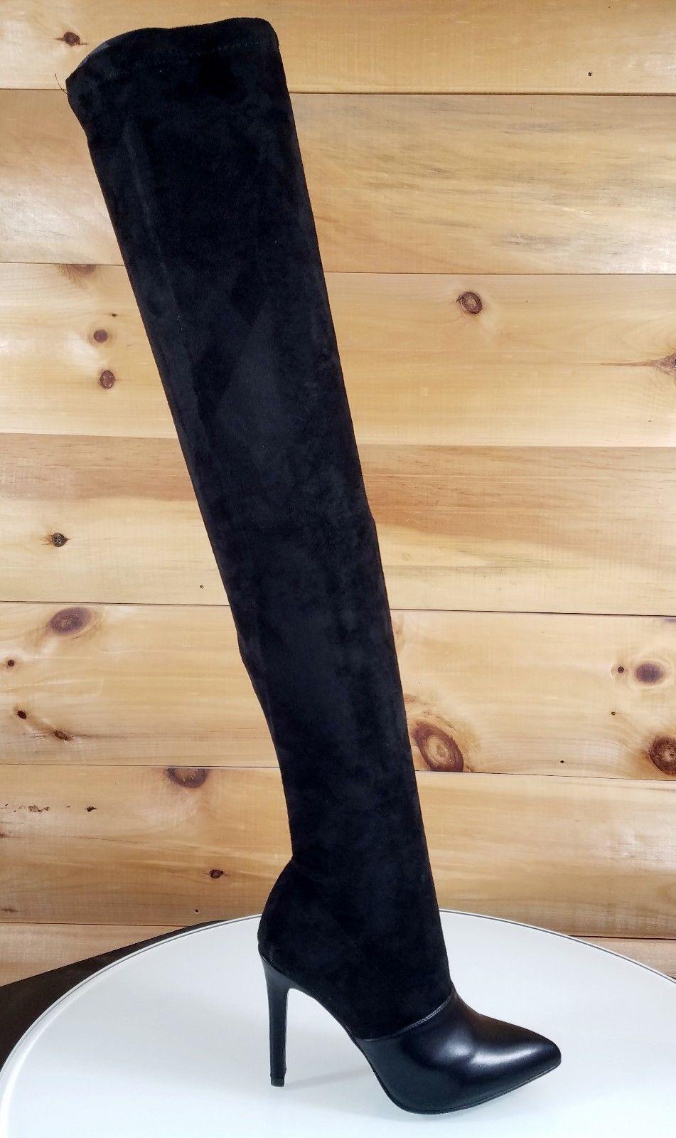 b7d1cd8b8c Mac J Black Soft Vegan Suede Pointy Toe Stocking High Heel Thigh High Boots  7-11