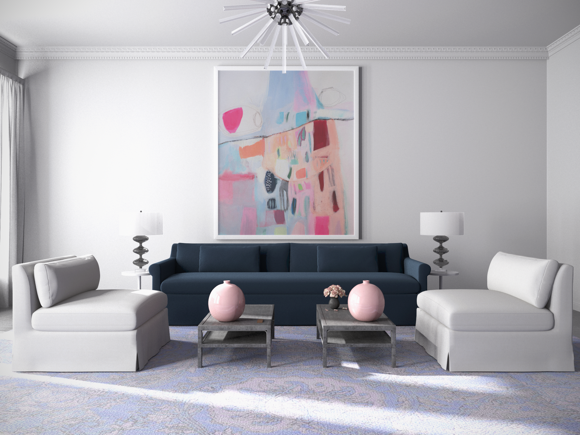 Seamless Symmetry   Tandem Arbor Custom Furniture Collection Featuring The  Ludlow Sofa In Blue Print Chenille