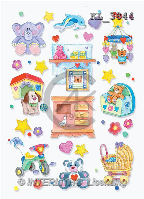 Interlitho, Nino, BABIES, paintings, blue elephant, symbol(KL3844,#B#) bébé, illustrations, pinturas