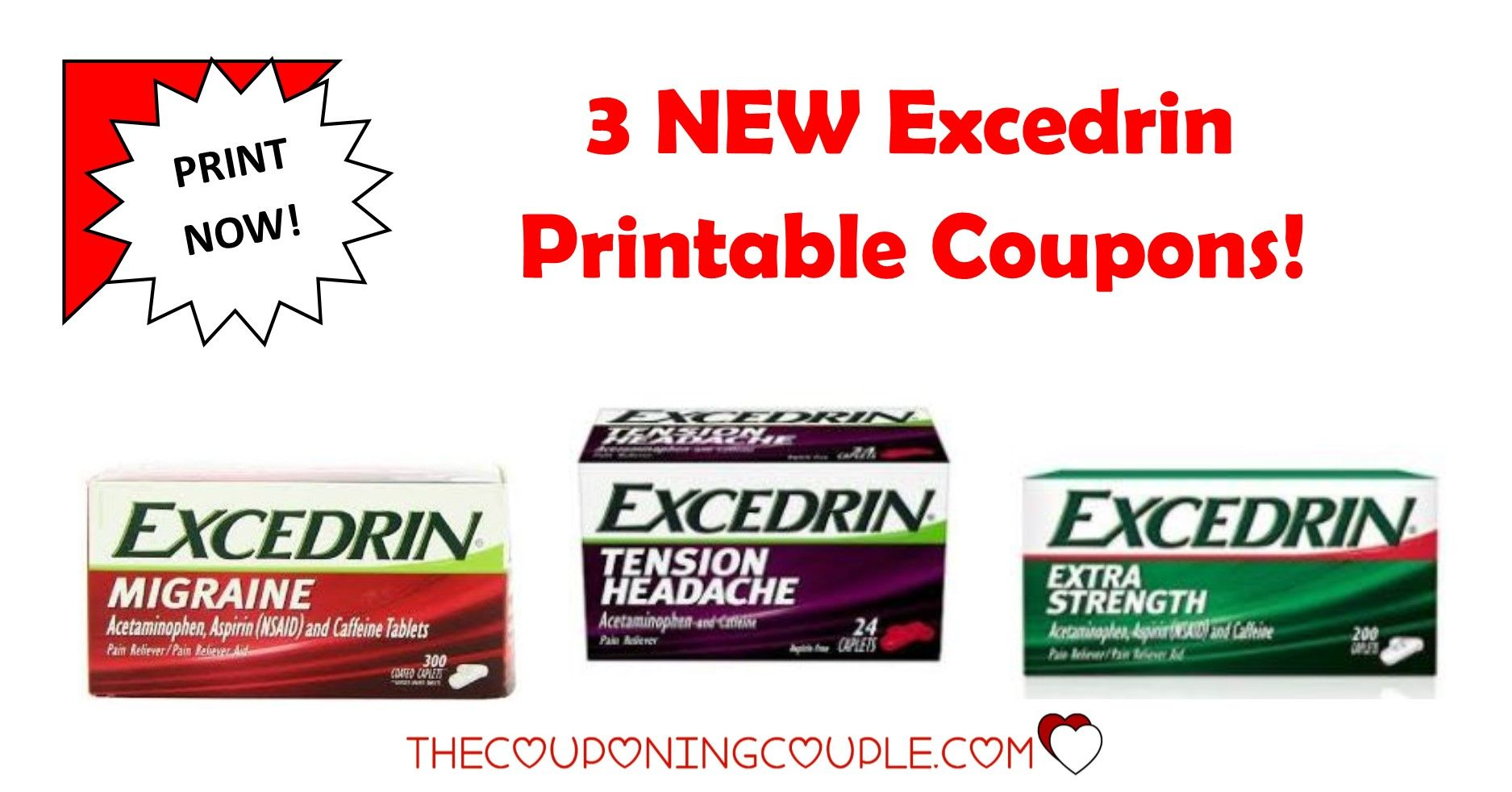 Get the 3 NEW Excedrin Printable Coupons that were just released this morning! Be sure to print your $4.50 in Savings!  Click the link below to get all of the details ► http://www.thecouponingcouple.com/excedrin-printable-coupons/ #Coupons #Couponing #CouponCommunity  Visit us at http://www.thecouponingcouple.com for more great posts!