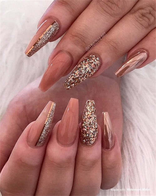 The Latest Autumn Fall Acrylic Coffin Nails Designs In 2020 Coffin Nails Designs Fall Nail Designs Mauve Nails
