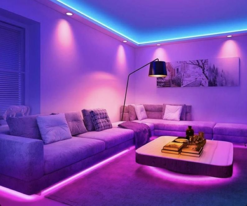 Living Room W Led Lights Led Room Lighting Interior Design 2021 Neon Room