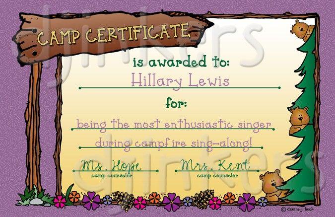 camp award certificate girls camp summer camp camp certificate