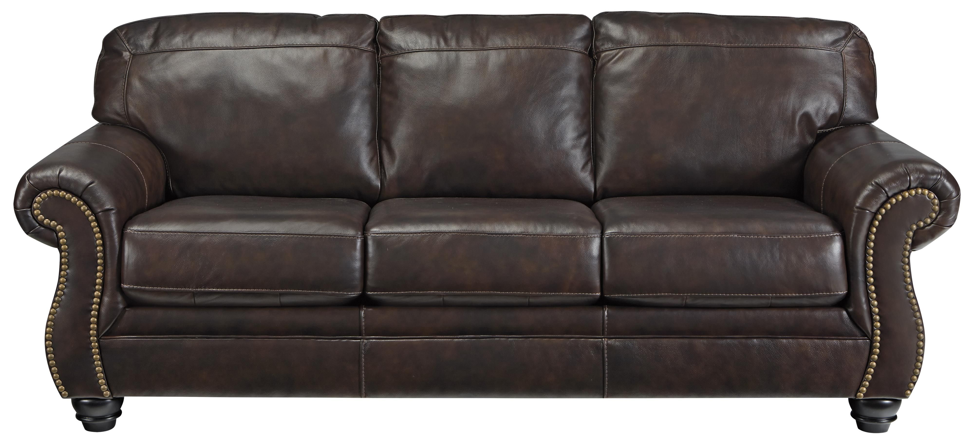Bristan Traditional Leather Match Sofa with Rolled Arms & Nailhead