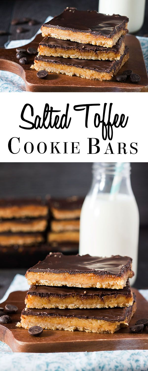 This recipe for Salted Toffee Cookie Bars from Erren's Kitchen has a crunchy base, thick chocolate and sweet, salted toffee. These wonderful treats are gooey, crunchy and simply sumptuous!