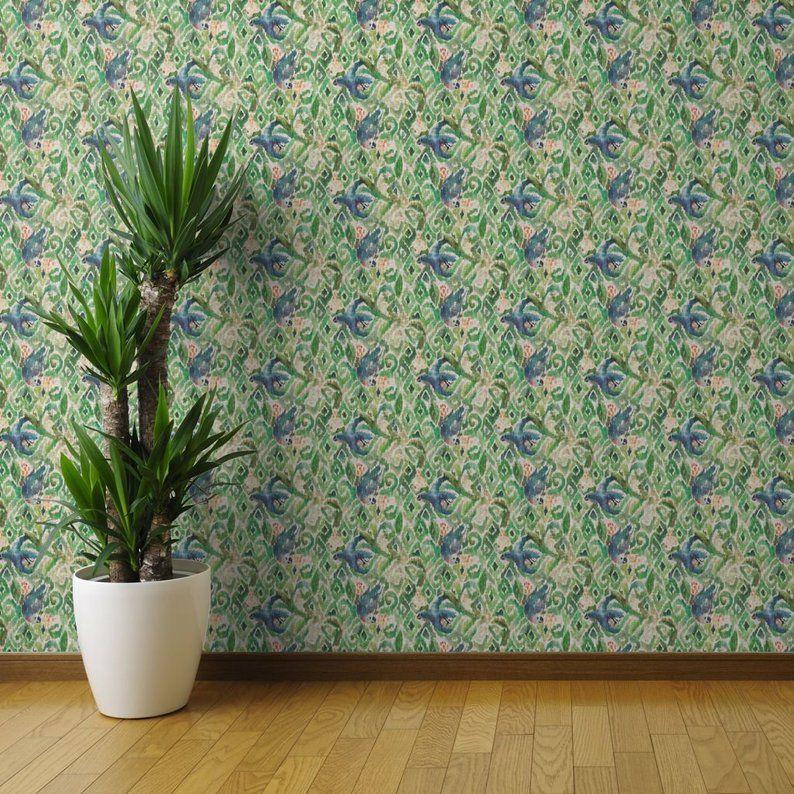 Boho Wallpaper Ikat Parrot Emerald Green by Nouveau