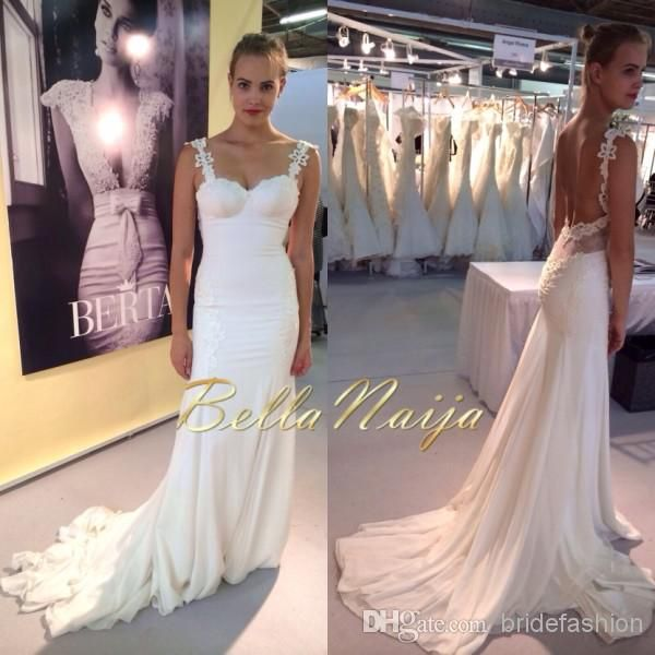 Best  New Spaghetti Strap Slim Fit Sheath Berta Wedding Gown White Lace Long Sleeve Sweep Train Backless Wedding Bridal Dresses